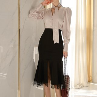 韓国セットアップ❤リボンタイ付きブラウスとマーメードスカートの可愛いツーピース 962979