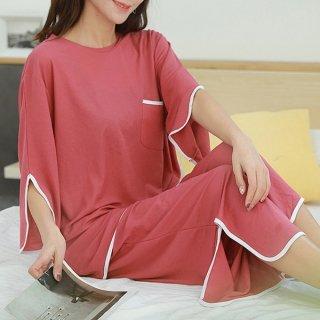 韓国ルームウェア❤スリット入りの可愛いカジュアルルームウェアセット 963002