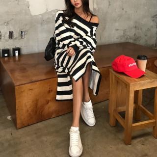韓国ワンピース❤ルーズシルエットが可愛いボーダーワンピース 963011