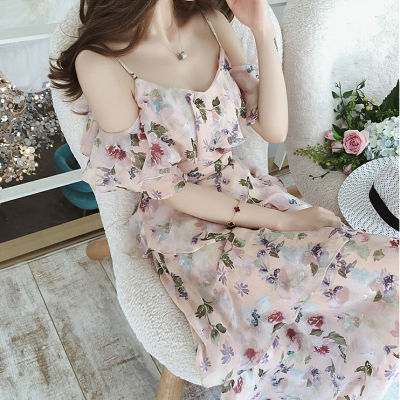 韓国ワンピース❤花柄がレトロガーリーな可愛いオフショルシフォンワンピース 963036