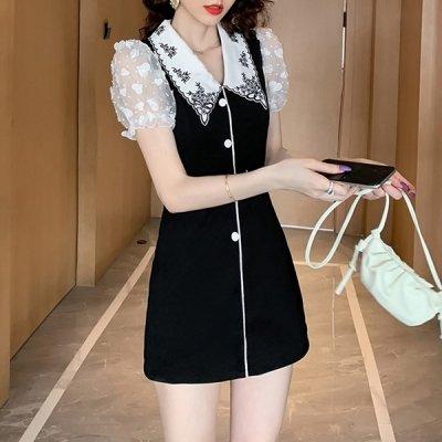 韓国ワンピース❤ショートパンツ付きで安心!刺繍襟が可愛いミニ丈ワンピース 963053