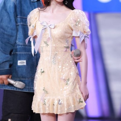 韓国ワンピース❤スパンコールがエレガントな裾フリルワンピース 963079