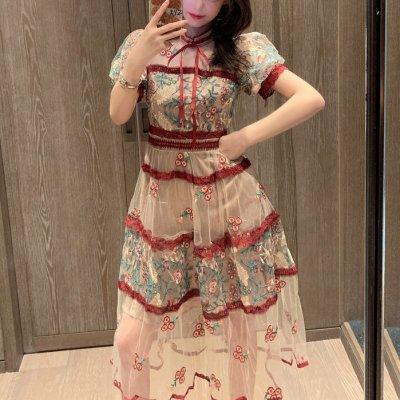 韓国ワンピース❤透け感×刺繍が可愛いフレアワンピース 963081