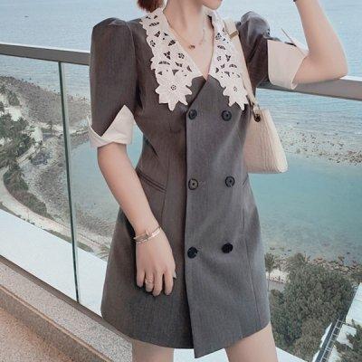 韓国ワンピース❤レース襟が上品D可愛いアウターワンピース 963083