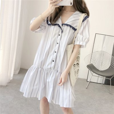 韓国ワンピース❤セーラー襟がガーリーな可愛いストライプワンピース 963091