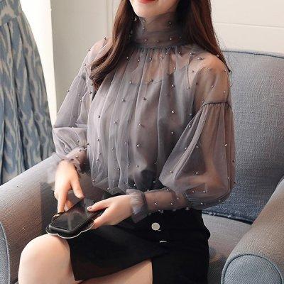 韓国トップス❤パールをちりばめた可愛いシアーブラウス 963119
