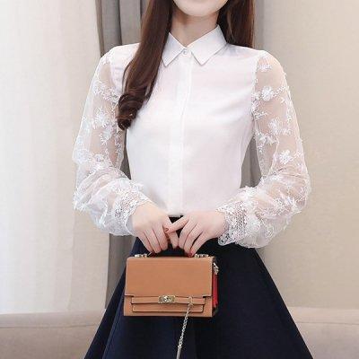 韓国トップス❤レース袖が上品なシフォンブラウス 963124