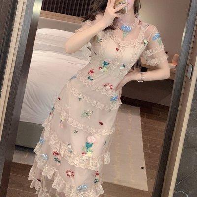 韓国ワンピース❤韓国パーティードレス 花の刺繍がレトロで可愛い透け感あるフリルティアードワンピース 963134