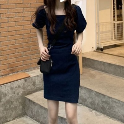 韓国ワンピース❤これ1枚でこなれ感ある雰囲気に! ショート丈のデニムワンピース 963147