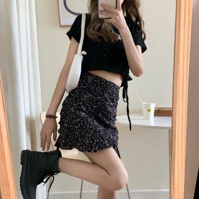 韓国セットアップ❤ショート丈トップスとクシュクシュミニ丈スカートの可愛いツーピース 963163