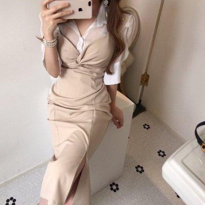 韓国セットアップ❤フロントクロスがアクセント! シアーシャツとキャミワンピの可愛いツーピース 963171