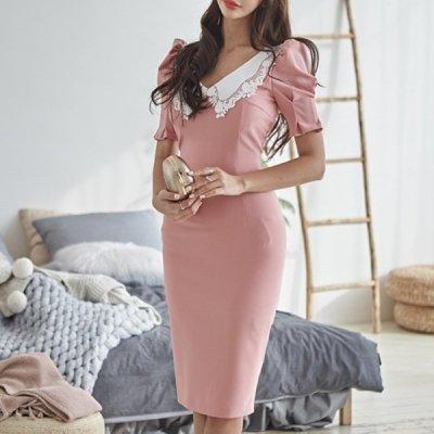 韓国ワンピース❤大人ピンクで可愛くきまる! レース襟タイトワンピース 963190