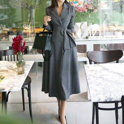 韓国アウター❤ワンピースのような可愛らしいデザインのロング丈コート 963199