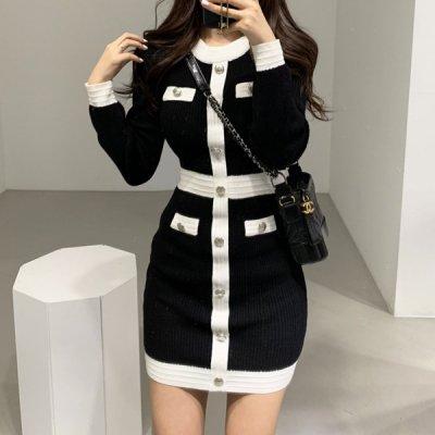 韓国ワンピース❤モノトーンカラーが大人上品な可愛いニットワンピース 963202