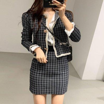 韓国セットアップ❤お呼ばれにも!ジャケットとミニ丈スカートの可愛いツーピース 963210