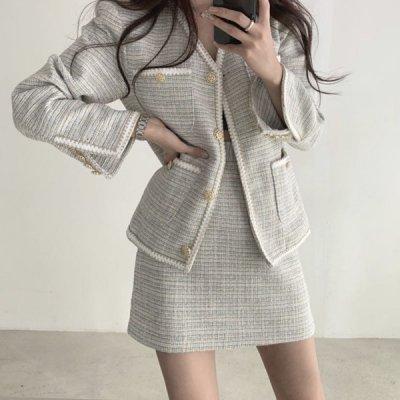 韓国セットアップ❤ツイード素材が上品!ジャケットとミニ丈スカートの可愛いツーピース 963211