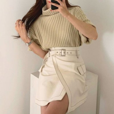 韓国セットアップ❤ハイネックニットとアシメスカートの可愛いツーピース 963218