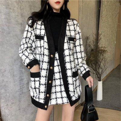 韓国セットアップ❤秋冬におススメ! モノトーンチェック柄が可愛いジャケット&スカートのツーピース 963238