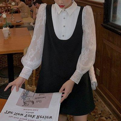 韓国ワンピース❤レース&プリーツが上品な装いの可愛いドッキングワンピース 963249