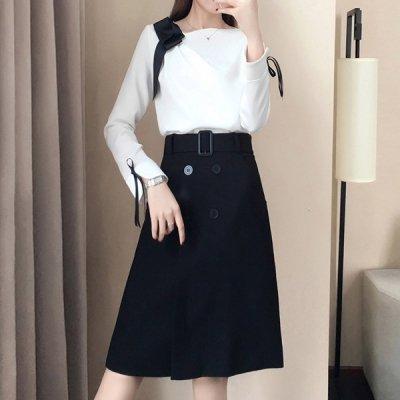 韓国セットアップ❤上品な大人の女性に ブラウス&スカートのクラシカルツーピース 963255