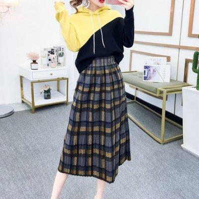 韓国セットアップ❤着回しは自由自在! ツートーンパーカーとプリーツスカートの可愛いツーピース 963260