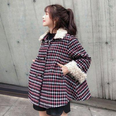 韓国アウター❤チェック柄が可愛らしい! のボア付きふんわりPコート 963277