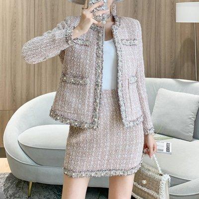 韓国セットアップ❤淡いカラーで上品に! ツイード素材のジャケット&スカートの可愛いツーピース 963291
