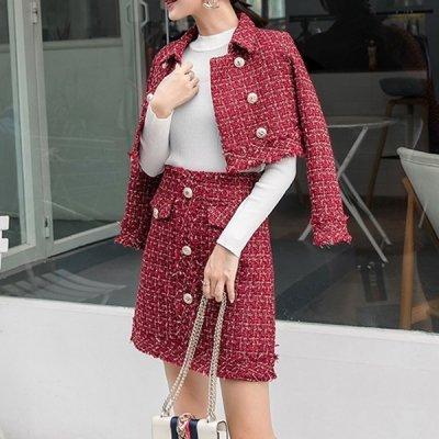 韓国セットアップ❤レッドカラーが華やかなジャケット&スカートの可愛いツーピース 963292