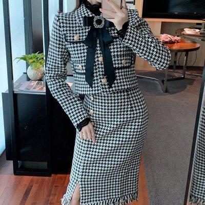 韓国セットアップ❤フォーマルにも使える千鳥格子柄が可愛いジャケット&スカートのツーピース 963293