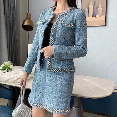 韓国セットアップ❤パール使いが可愛い! ジャケット&スカートのツイード素材ツーピース 963295