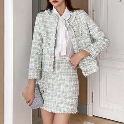 韓国セットアップ❤秋冬おススメのツイード素材! ジャケット&スカートの可愛いツーピース 963297