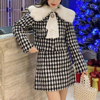 韓国セットアップ❤千鳥格子柄が上品さUP! ファー付きジャケット&スカートの可愛いツーピース 963300