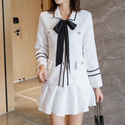 韓国セットアップ❤ふんわりフレアスカートが可愛い! ジャケット&スカートの清楚系ツーピース 963305