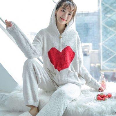 韓国ルームウェア❤自宅時間も可愛く過ごす! ハートデザインのもこもこルームウェア 963328