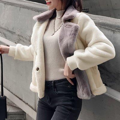 韓国アウター❤異素材MIXがおしゃれな可愛いムートンジャケット 963361