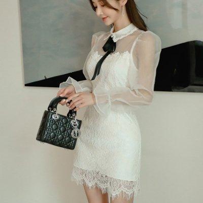 韓国ワンピース❤シアー袖×レースがエレガントな可愛いお呼ばれワンピースドレス 963366
