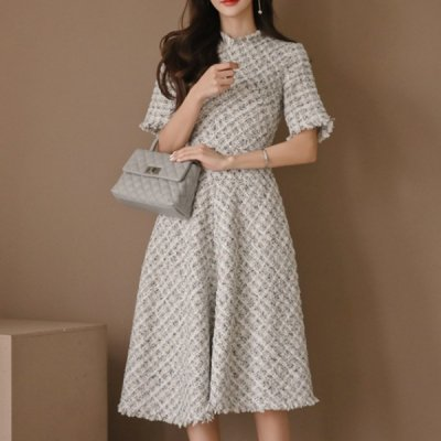 韓国ワンピース❤ツイード素材の可愛いフレアワンピース 963369