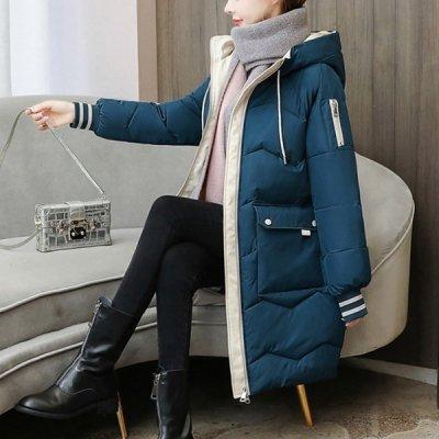 韓国アウター❤バイカラーの配色がおしゃれなシンプルで可愛いダウンコート 963371
