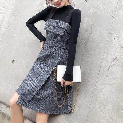韓国セットアップ❤ニット&ジャンパースカートの可愛いツーピース 963377