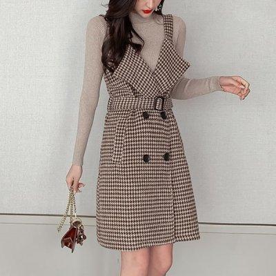 韓国セットアップ❤リブニット&ジャンパースカートの可愛いツーピース 963379