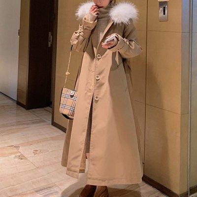 韓国アウター❤白いファーが女の子度UP!フード付き可愛いミリタリーコート 963386