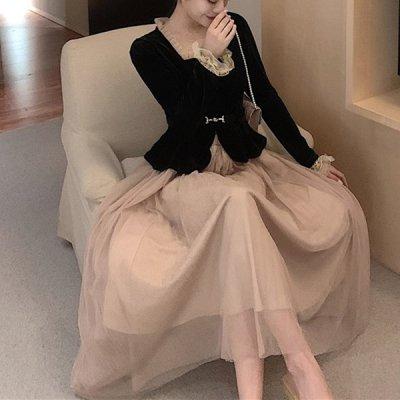 韓国セットアップ❤ベルベットトップス&シフォンスカートの可愛いツーピース 963390