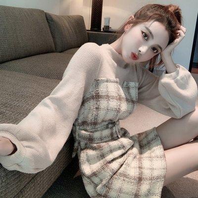 韓国ワンピース❤シーズンムード高まるチェック柄がレトロ可愛いニットワンピース 963399