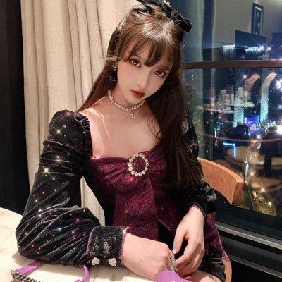 韓国ワンピース❤光沢あるベルベットとリボンが可愛いミニ丈ワンピース 963411