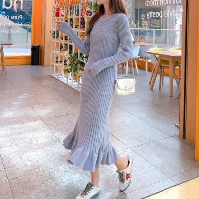 韓国ワンピース❤裾フリルがガーリーで可愛いリブニットワンピース 963426