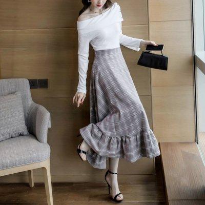 韓国セットアップ❤ワンショルダートップス&スカートの可愛いツーピース 963429