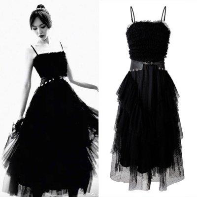韓国ブラックドレス❤ウエストマークがとってもお洒落さんなブラックドレス 910011