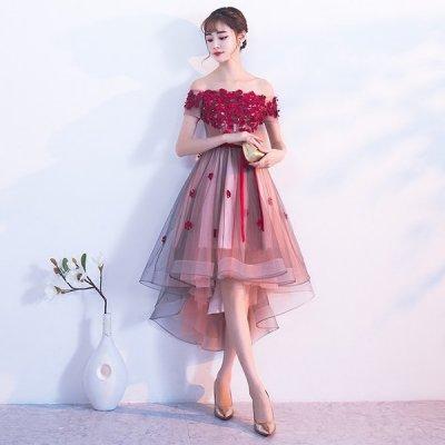 韓国カクテルドレス❤イブニングドレス 散りばめられたお花がとっても可愛いパーティードレス 910096