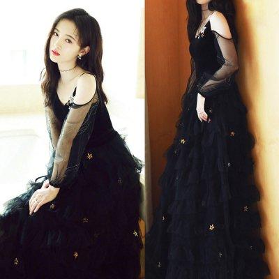 韓国イブニングドレス❤花の飾りがとっても可愛いティアードスカートのロングドレス 910004