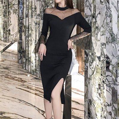 韓国ワンピース❤シアーデコルテがセクシーなスリット入りタイトドレス 963432